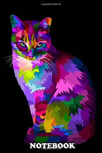 Notebook: Colorful Cool Cat Sitting On Pop Art Style , Journal for Writing, College Ruled Size 6' x 9', 110 Pages