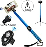 Extra-long Selfie Stick, 3-Meter(118-Inch) Long Foldable Selfie Stick with Wireless Bluetooth Remote Shutter, Adjustable Holder for all Smartphone.(Blue)