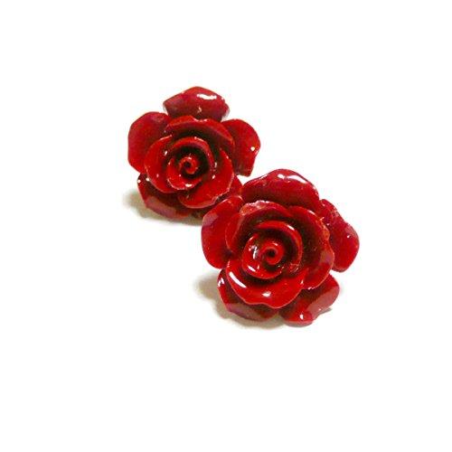 【 花 纏い/薔薇 】 赤珊瑚 の ピアス