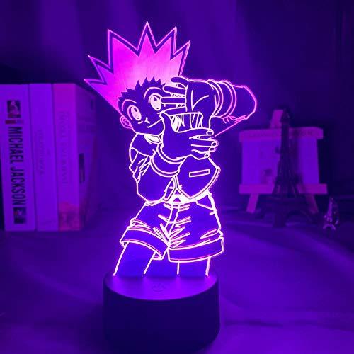 Lámpara 3D de ilusión LED Hunter X Hunter Anime 3D lámpara Freecss Gon luz para niños, decoración LED nocturna de cumpleaños, manga, gadget de mesa para niños, 7 colores táctiles