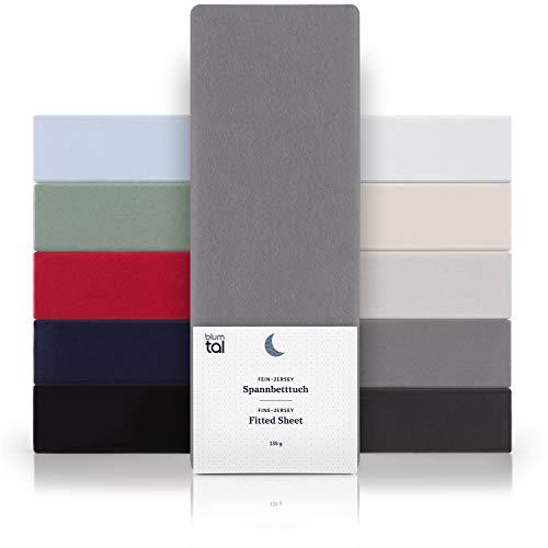 Blumtal Basics Baumwolle Spannbettlaken 90x 200 cm - 100% Baumwolle Bettlaken, bis 25cm Matratzenhöhe, Grau