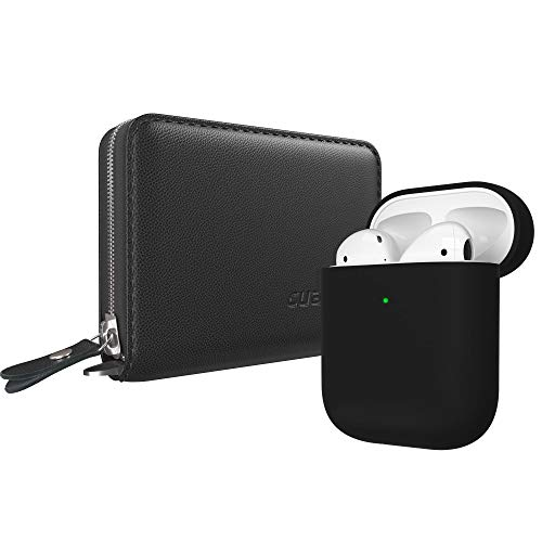 Cuauco Airpods Case, AirPods Leather Case Cover(Genuine Leather),Protective Silicone Case Compatible for Apple AirPods 2 and 1(Front LED Visible) with Keychain,2 Pack Airpods Accesssories(Black)