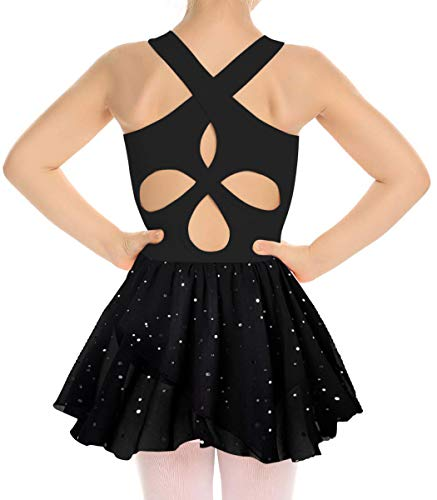 Dance Clothes with Tutu for Girls Childrens 8 9 Yr Old Black Ballet Leotards Dress Solid Color Unitard with 2 Layers Chiffon Skirts for Gymnastic Ballet Party