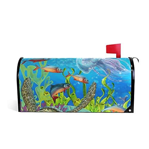 prz0vprz0v Coral Reef Zee Dieren Magnetische Postbus Cover 21 x 18 Inch Waterdichte Canvas Postbus Cover