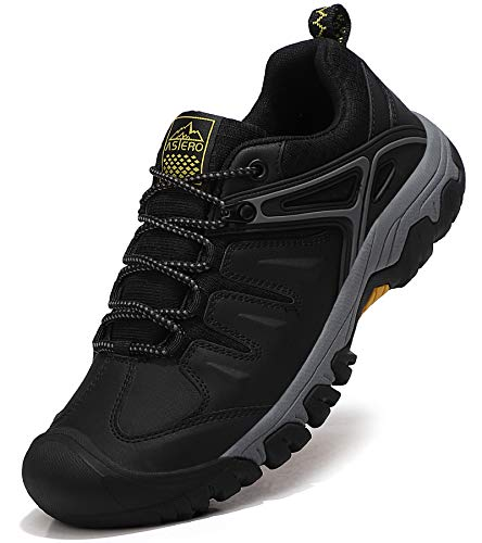 ASTERO Wanderschuhe Herren Trekkingschuhe Low Wanderhalbschuhe rutschfeste Schuhe Männer Outdoor Leichte Hiking Schnüren Wanderstiefel Größe 41-46 (SCHWARZ, Numeric_46)