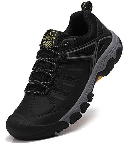 ASTERO Wanderschuhe Herren Trekkingschuhe Low Wanderhalbschuhe rutschfeste Schuhe Männer Outdoor Leichte Hiking Schnüren Wanderstiefel Größe 41-46 (SCHWARZ, Numeric_42)