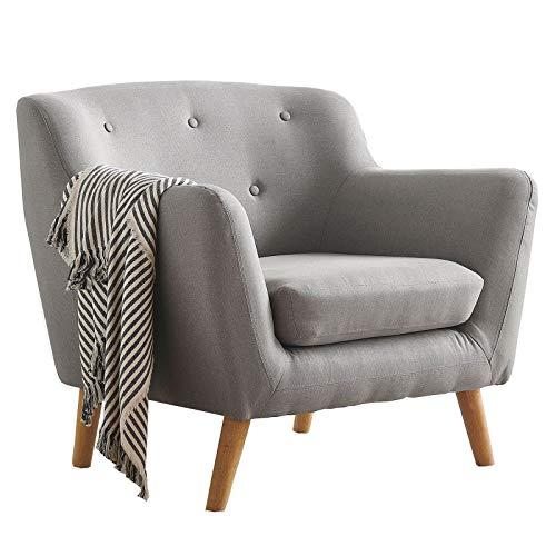 CARO-Möbel Sessel Cesena mit robustem Stoffbezug in grau, Lesesessel im Retro Look, Polstersessel Fernsehsessel mit Holzfüßen