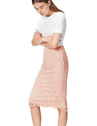 FIND Lace Pencil Falda para Mujer, Rosa (Blush), 44 (Talla del Fabricante: X-Large)