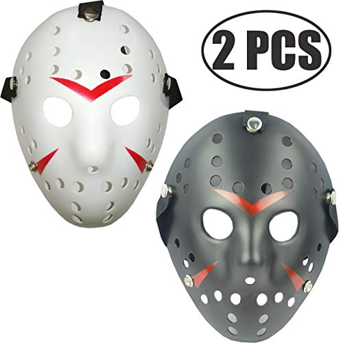 TIHOOD Costume Jason Mask Cosplay Halloween Masquerade Party Horror Mask Christmas for Men and Adults (Black,White)