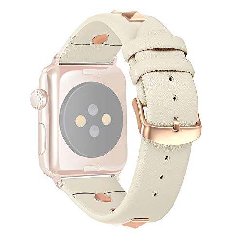 Yangeryang WatchBand para Apple Watch Series 5 & 4 44mm / 3 y 2 y 1 42mm Remache de Reloj de Cuero (Negro), Correa (Color : Beige)