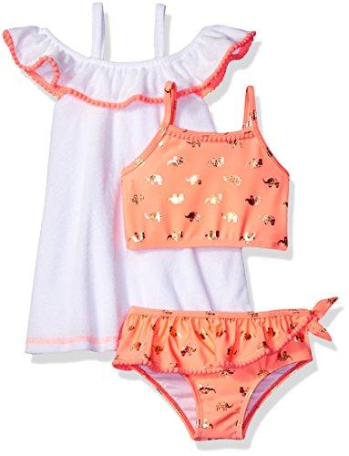 Baby Buns Toddler Girls' Terry Elephant Gem Cover up Swim Set, Multi, 4T