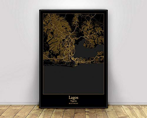 Prints Canvas, Lagos Nigeria Black&Gold City Light Maps Custom World City Map Poster Canvas Prints Nordic Style Wall Art Home Decor,30 * 45cm