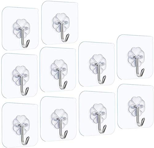Fotosnow Self Adhesive Hooks Heavy Duty Stick on Hooks Max (6.8kg/15 lbs) Transparent Nail Free Bathroom Kitchen Door Hook Reusable Ceiling Hanger Waterproof and Oilproof -10 Pack