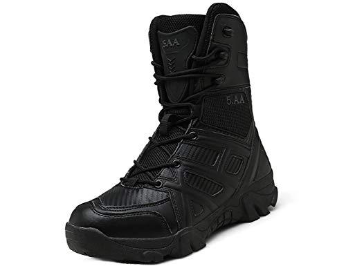 IYVW 5.AA 8810 Botas Combate Desierto Botas Seguridad La Policía Militar Fuerzas Especiales Zapatos Senderismo Tácticos Al Aire Libre Botas Cortas Seguridad Trabajo Transpirables Negro 39 EU
