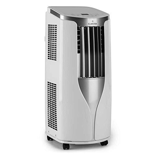 Klarstein New Breeze 7 - Condizionatore Portatile, 3-in-1: Raffrescatore, Deumidificatore, Ventilatore, 7.000 BTU/2,1 kW, Locale: 21-34 m², 4 Rotelle, Timer, Telecomando, Bianco Fumo