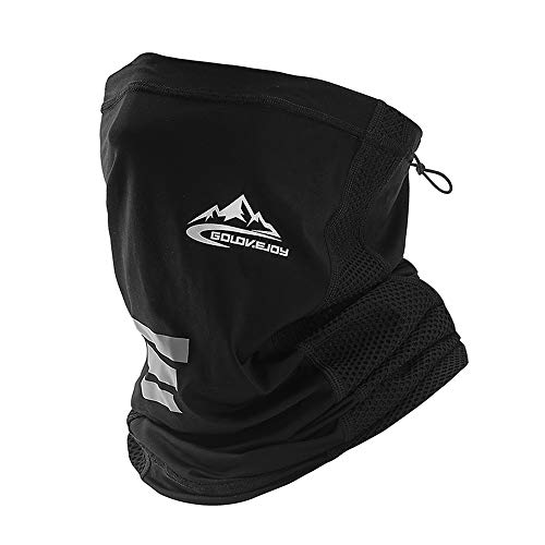 Bandana Neck Gaiter Shield Face Scarf Bandanas Mask Windproof for Men & Women Black