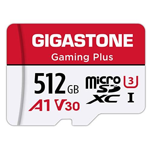 Gigastone Carte Mémoire 512 Go Gaming Plus Série, Vitesse de Lecture allant jusqu'à 100 Mo/s. Compatible avec Switch Dashcam GoPro Canon Nikon DJI Drone, A1 U3 V30 Carte Micro SDXC avec Adaptateur SD.