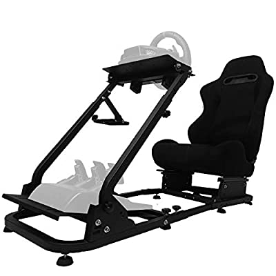 Minneer Racing Seat Simulator Cockpit Height Adjustable Racing Steering Wheel Stand/Fits Fantec, Logitech G25, G27, G29, Thrustmaster/Compatible with Xbox One, Playstation, PC Platforms
