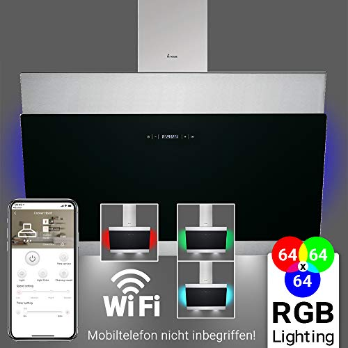 Afzuigkap, wandafzuigkap (80cm, roestvrij staal, zwart glas, extra stil, 605m³/h, RGBW LED verlichting, WIFI, 4 niveaus, touch control) BICOLORE807SM - KKT KOLBE