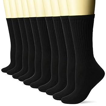 Amazon Essentials Women s 10-Pack Cotton Lightly Cushioned Crew Socks Black Shoe Size  6-9