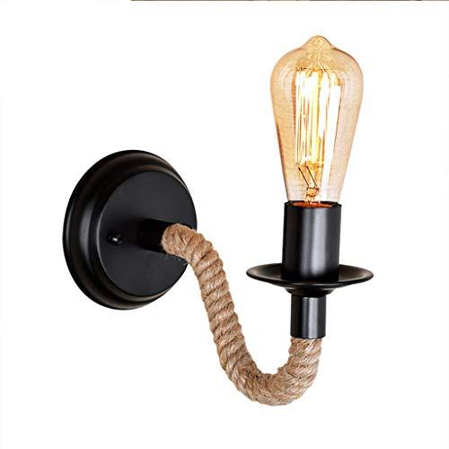 American Industrial Wind Retro LED wandlamp creatief henneptouw frame van hoogwaardig smeedijzeren E27 fitting geschikt voor bars, gangen en schepen zwart