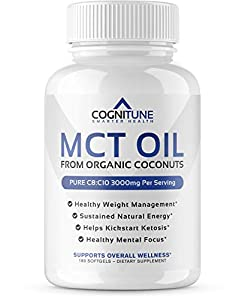 MCT Oil Softgels 3000 MG - Pure Caprylic Acid (C8) & Capric Acid (C10) Medium-Chain Triglycerides from Organic Coconuts - Keto Diet Friendly Weight Loss, Gut Health & Energy Supplement - 180 Count from COGNITUNE