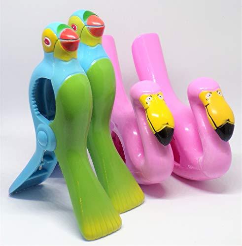 Strandtuch Clips Boca Stil - Zwei Paar Flamingo und Papagei