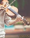 VIOLIN: Cuaderno de música para violinista - Violín - Cuaderno de partituras - Papel manuscrito - 17 pentagramas por página - 111 páginas - Gran formato