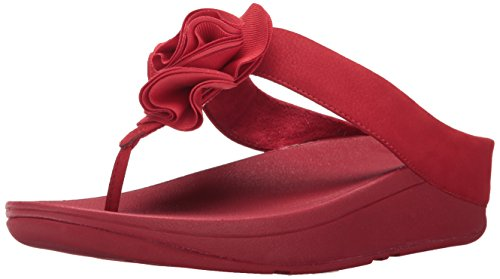 FitFlop Women's Florrie Toe-Thong Sandal, Classic red, 9 M US