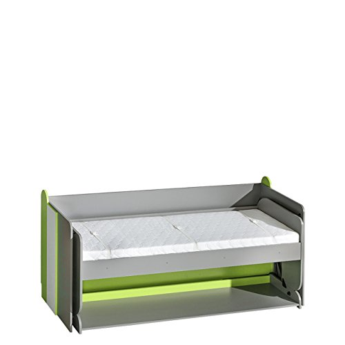 Jugendbett und Schreibtisch Futuro F14, Schrankbett mit Schreibtisch, Wandbett, Funktionsbett für Jugendzimmer (Graphit/Weiß + Grün Mamba, ohne Matratze)