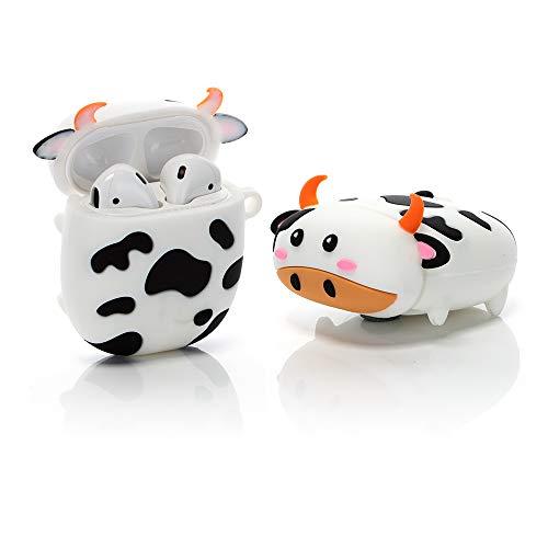 ZAHIUS Silikonowe etui kompatybilne z Airpods 1 i 2 Case Cover zabawna osłona [zwierzęta domowe] (krowa)