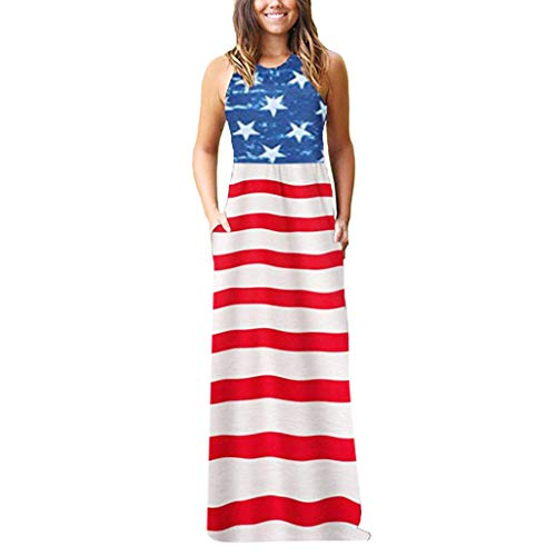 Check Out This COLNER 4th July Dresses for Women Boho Sleeveless Striped Stitching Beach Print Floor...