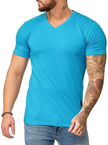 OneRedox Herren T-Shirt V-Neck Hoodie Longsleeve Kurzarm Shirt Sweatshirt Modell 1309 Türkis L