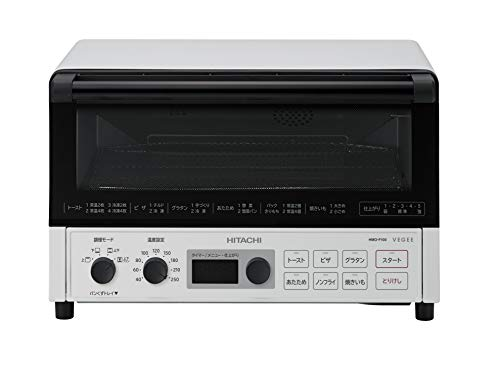 日立 コンベクション オーブントースター 1,300W 4枚焼き 遠赤ヒーター ノンフライ調理 HMO-F100 W ホワイト