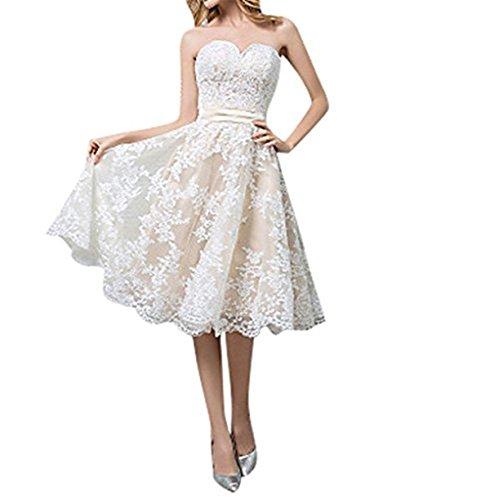 Cloverbridal Hochzeitskleider Für Damen Weiß Standesamt Kurz Tüll Spitze A Linie Champagner Brautkleider Bildfarbe 36