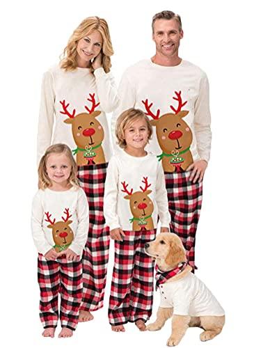 Weihnachts Schlafanzug Familie Winter Warme Nachtwäsche Langarm Nachthemd Top mit Hirsche Aufdruck + Plaidhose Schlafanzughose Baby Strampler Weihnachten Pyjamas Set Outfits (Kinder, 11-12Jahre)