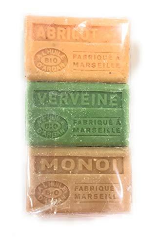 Label Provence - Lot de 3 Savons de Marseille BIO a l'huile d'argan - Parfums Abricot/Verveine/Monoï - 100gr x 3