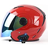 Bluetooth Integrado Medio Abierto Casco de Moto con Visera Casco Moto Jet Cubierto Casco de Seguridad ECE Homologado Casco de Motocicleta para Hombres y Mujeres A,XL