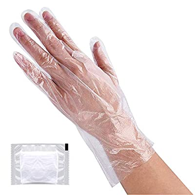 Plastic Gloves Disposable, Lebonheurs 200 Pcs Plastic Hand Gloves for Kitchen Cooking Cleaning Safety Food Handling Large (200PCS)