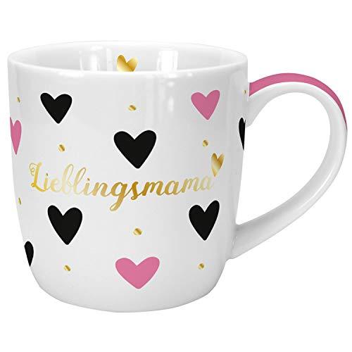 Die Geschenkewelt 45633 Tasse mit Spruch Lieblingsmama, Porzellan, 40 cl, mit Geschenk-Banderole, Geschenk Muttertag