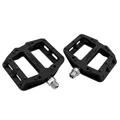 Mountain Bike Pedal Bicycle Platform Flat Pedal Ultralight MTB BMX Bicycle Cycling Road Bike Hybrid Pedals for 9/16 inch/1 Pair(1-black 13.8cmx10.1cm)