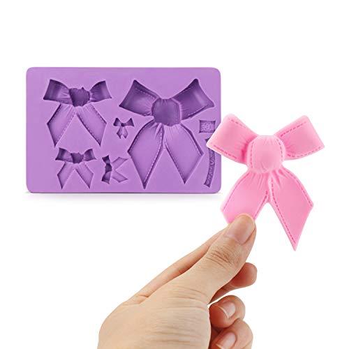 Fondant Bow Mold, Beasea 3pcs Candy Sugar Craft Fondant DIY Gumpaste Cake Decoration Cupcake Decorating Toppers Clay Purple