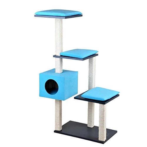 Silvio Design Katzenhöhle; Kratzturm, Kratzbaum, Stufenboy Cosy in blau, Maße: ca. 36 x 80 x 126 cm