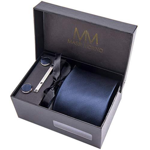 Massi Morino Hommes Designer Cravate - Coffrets cravate avec mouchoir, boutons de manchette et épingle, cravattes de microfibre en différentes couleurs - paisley (Bleu foncé)