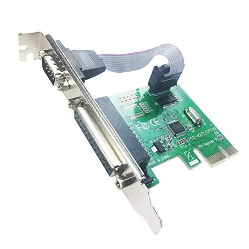 glotrends PCIE naar 1 poort seriële RS232 + 1 DB25 LPT parallelle uitbreidingskaart met beugel met laag profiel