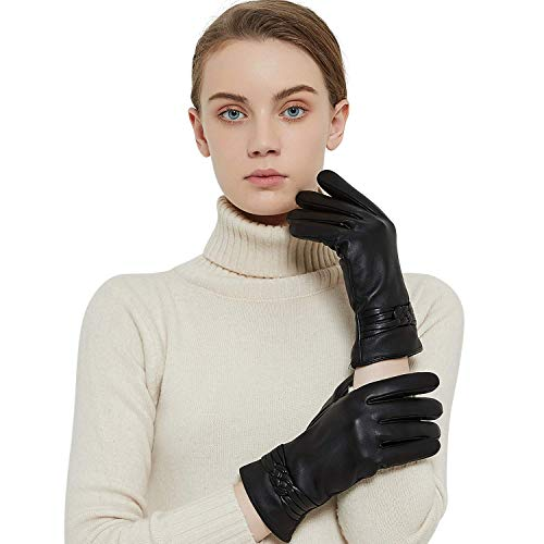 QNLYCZY Guanti in vera pelle di montone per donna, inverno caldo rivestimento in cashmere touchscreen Texting Guanti da motociclista da guida
