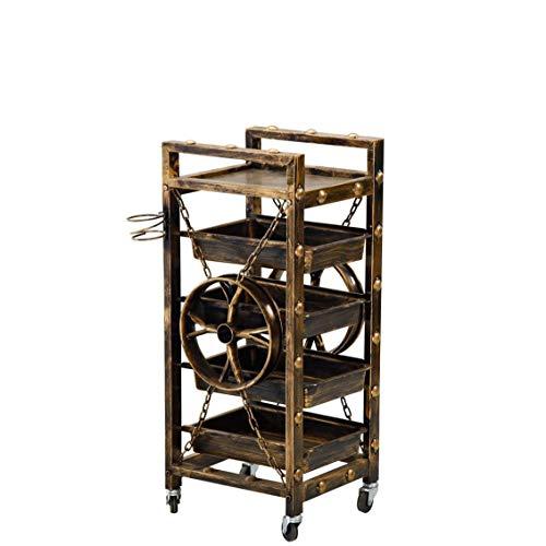 LYATW 5 Strati di Metallo di rotolamento Bagagli Carrello, Multifunzionale Resistente di rotolamento Tool, Carrello Colorazione, Parrucchiere Asciugacapelli Staffa, for Strumento Vintage Carrello