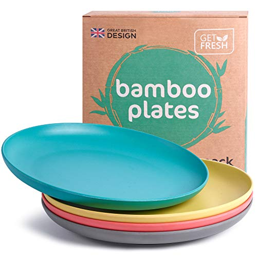 GET FRESH Bamboo Kids Plates Set – 4-pack Reusable Bamboo Dinner Plates for Kids and Toddlers – Colorful Bamboo Fiber Childrens Dinnerware Set – Kids Bamboo Tableware Plates for Everyday Use
