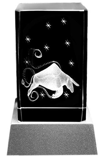 Kaltner Präsente Sfeerlicht – het perfecte cadeau: led-kaars/kristalglazen blok/3D-lasergravure sterrenbeeld stier