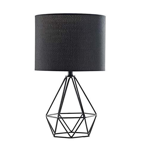 E27 Lámpara de Noche Moderno Fácil Lámpara de Mesa con Interruptor de Cable Pantalla de Tela Lampara de Lectura Creativo Decorativo Lámpara de Escritorio para Cuarto Sala Oficina Comedor Salón,Negro